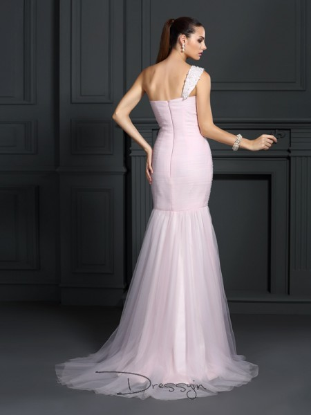 Trumpet/Mermaid One-Shoulder Sleeveless Satin Long Dress