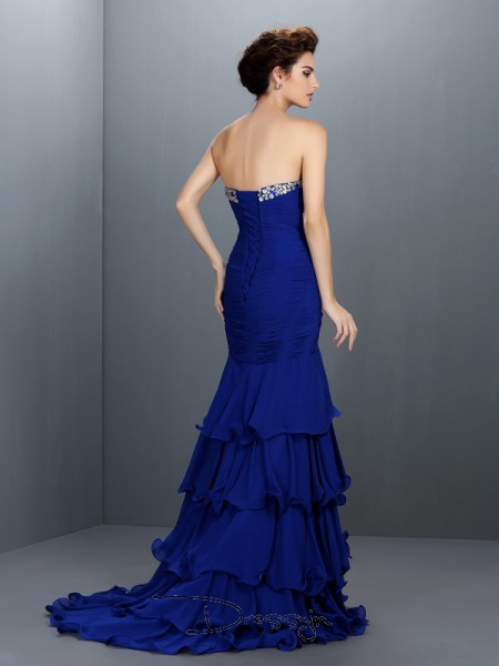 Trumpet/Mermaid Sweetheart Sleeveless Chiffon Beading Long Dress