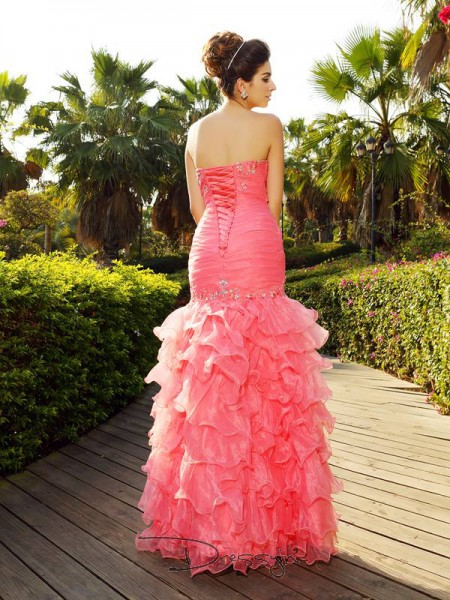 Trumpet/Mermaid Strapless Sleeveless Organza Beading Long Dress