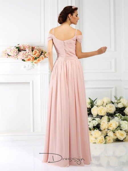 A-Line/Princess Spaghetti Straps Sleeveless Chiffon Pleats Hand-Made Flower Long Bridesmaid Dress
