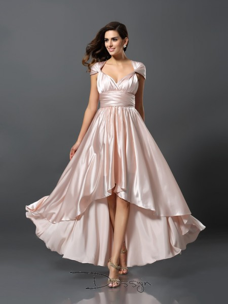 Sheath/Column Sleeveless Silk like Satin Asymmetrical Bridesmaid Dress
