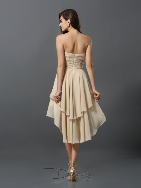 A-Line/Princess Sweetheart Sleeveless Chiffon Hand-Made Flower Asymmetrical Bridesmaid Dress