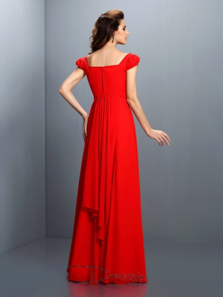 A-Line/Princess Bateau Short Sleeves Satin Long Dress
