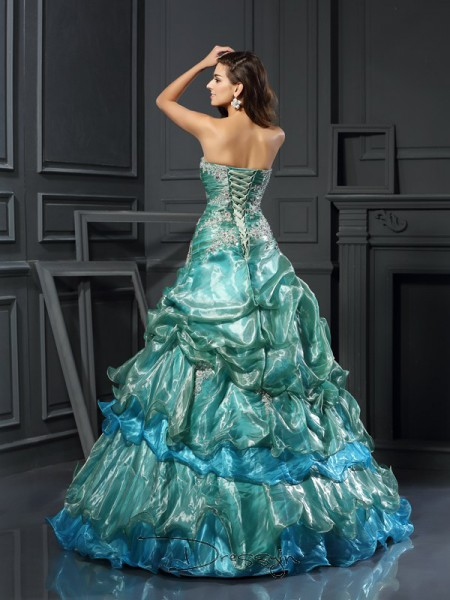 Ball Gown Sweetheart Sleeveless Tulle Applique Long Dress