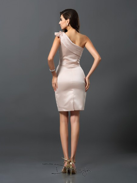 Sheath/Column One-Shoulder Sleeveless Satin Knee-Length Dress