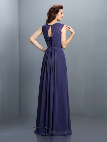 A-Line/Princess High Neck Sleeveless Chiffon Pleats Long Bridesmaid Dress
