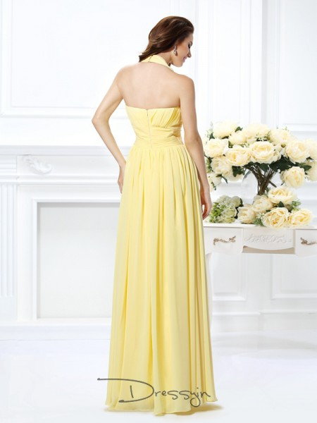 A-Line/Princess Halter Sleeveless Chiffon Pleats Long Dress