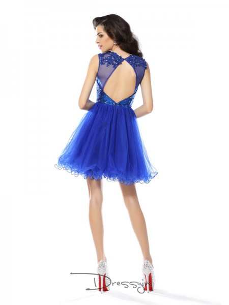 A-Line/Princess Scoop Sleeveless Net Paillette Short Dress