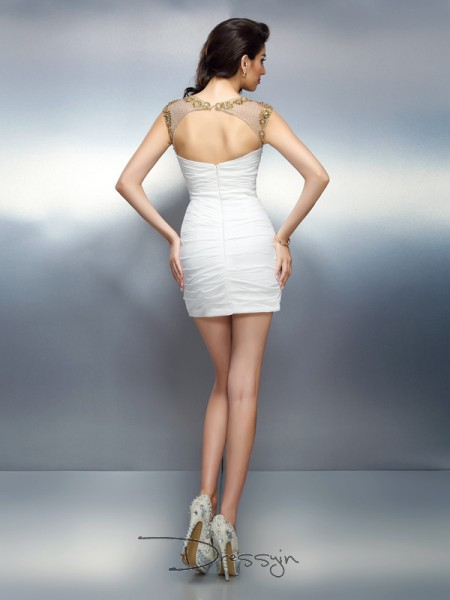 Sheath/Column Bateau Sleeveless Chiffon Beading Short Dress