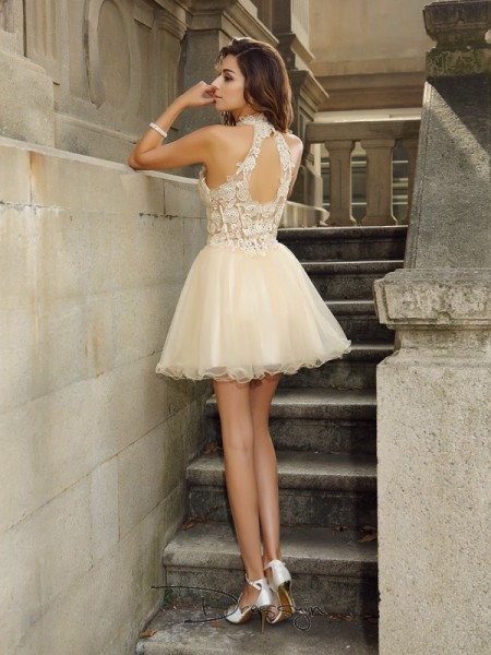 A-Line/Princess High Neck Sleeveless Tulle Ruffles Short Dress