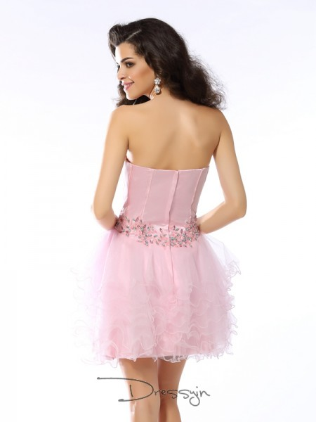 A-Line/Princess Sweetheart Sleeveless Net Ruffles Short Dress