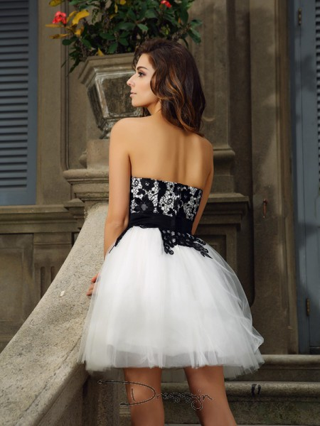 A-Line/Princess Sweetheart Sleeveless Tulle Applique Short Dress