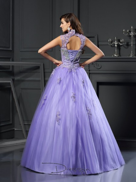 Ball Gown High Neck Sleeveless Net Beading Applique Long Dress