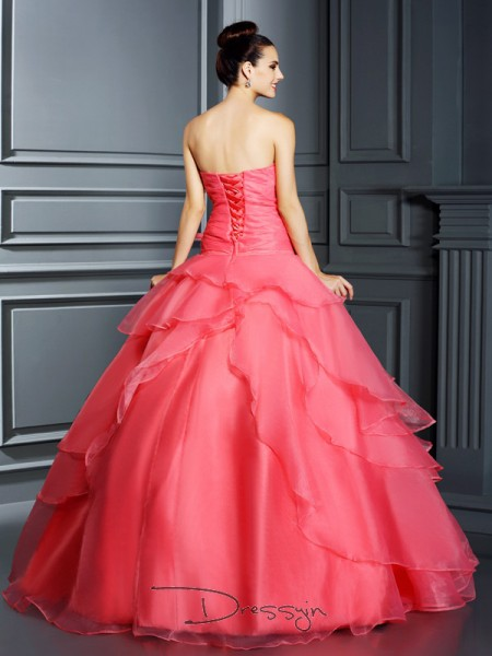 Ball Gown Strapless Sleeveless Organza Hand-Made Flower Long Dress