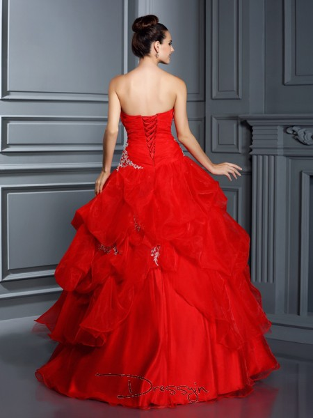 Ball Gown Strapless Sleeveless Organza Applique Long Dress