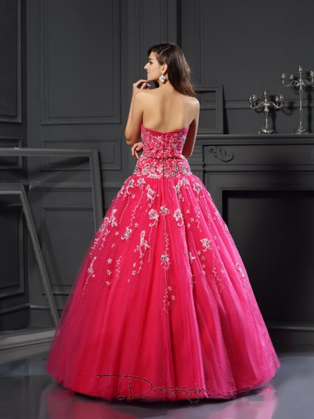 Ball Gown Sweetheart Sleeveless Net Applique Long Dress