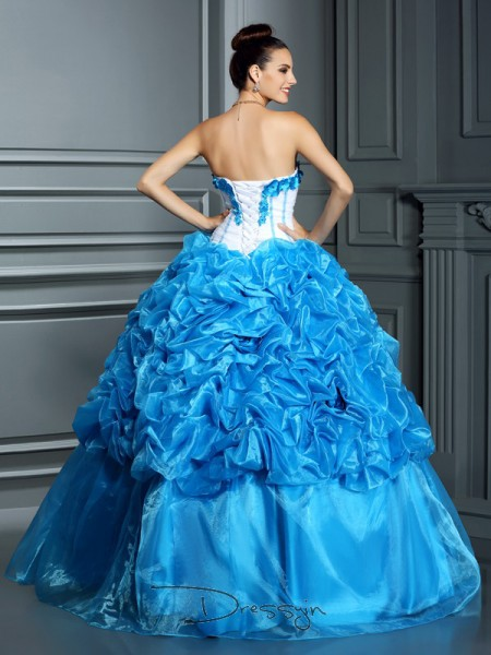 Ball Gown Sweetheart Sleeveless Satin Ruffles Long Dress