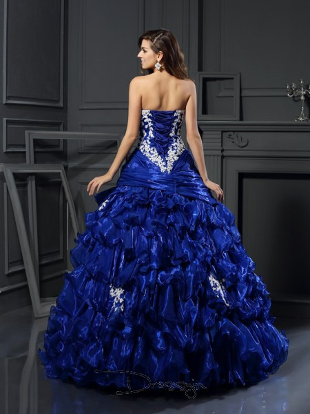 Ball Gown Sweetheart Sleeveless Tulle Beading Applique Long Dress