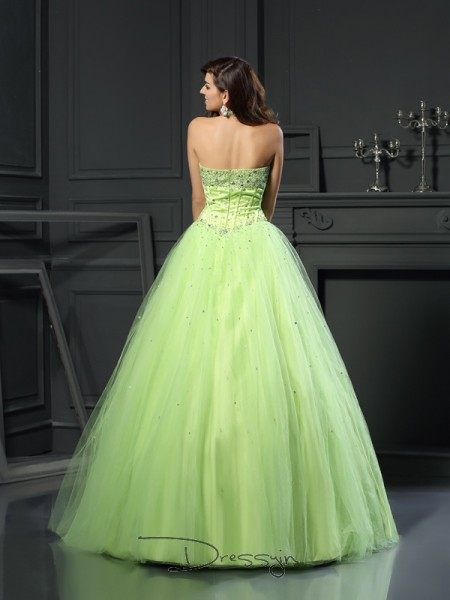 Ball Gown Halter Sleeveless Satin Beading Long Dress