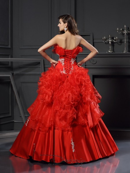 Ball Gown Strapless Sleeveless Organza Ruffles Long Dress