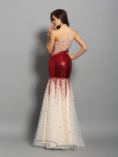 Trumpet/Mermaid One-Shoulder Sleeveless Sequins Long Dress