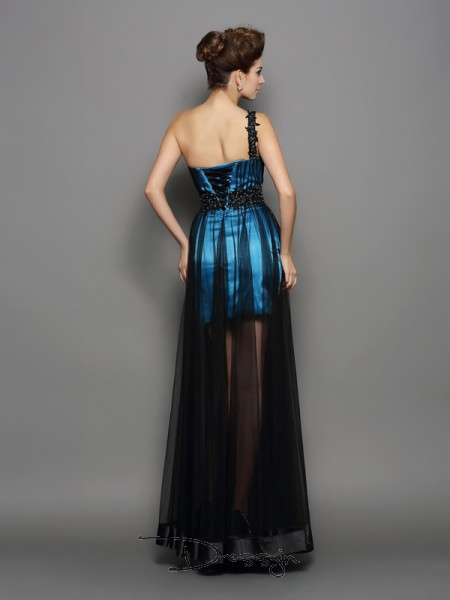 A-Line/Princess One-Shoulder Sleeveless Elastic Woven Satin Ruched Long Dress
