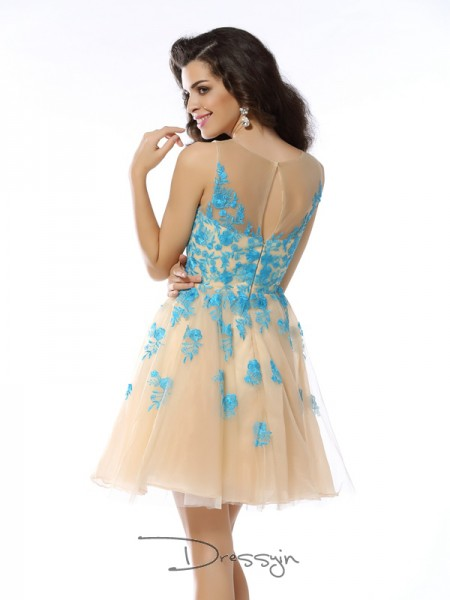 A-Line/Princess Bateau Sleeveless Tulle Applique Short Dress