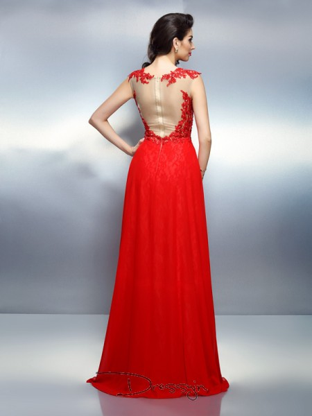 A-Line/Princess Bateau Sleeveless Net Applique Long Dress