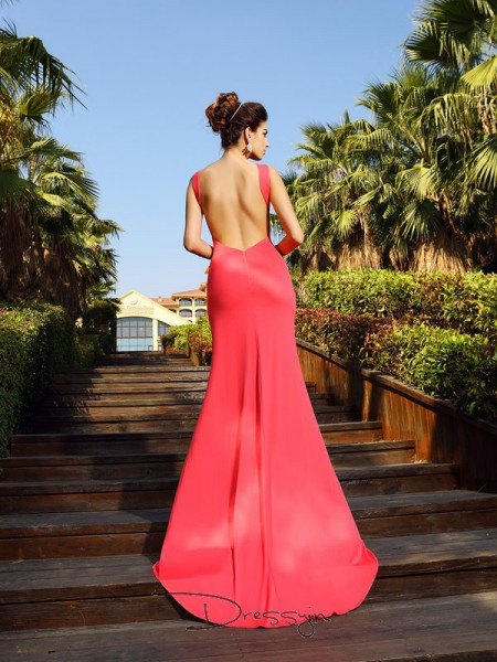 Trumpet/Mermaid Bateau Sleeveless Spandex Court Train Dress