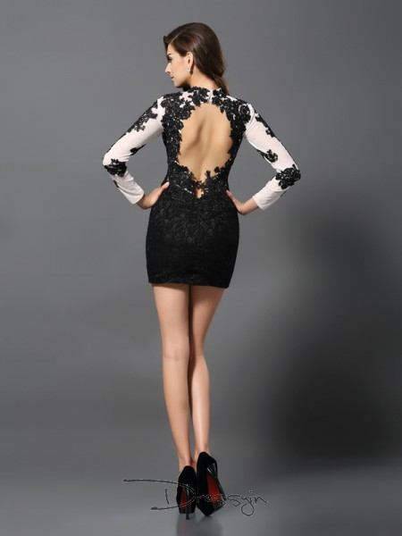 Sheath/Column High Neck Long Sleeves Lace Applique Short Dress
