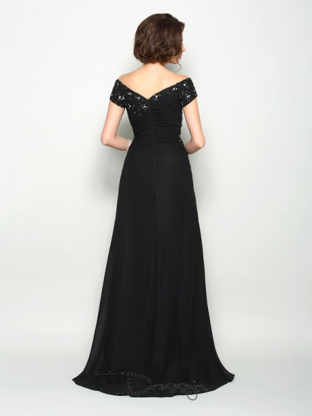 A-Line/Princess Off-the-Shoulder Short Sleeves Chiffon Beading Applique Long Mother of the Bride Dresses