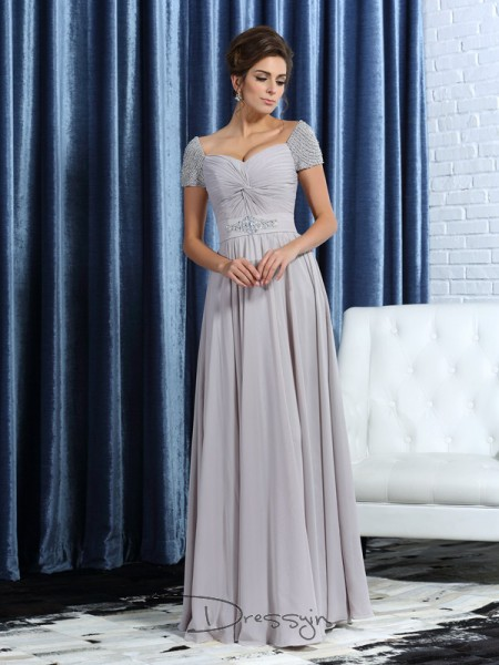 A-Line/Princess Sweetheart Short Sleeves Chiffon Beading Ankle-Length Mother of the Bride Dresses