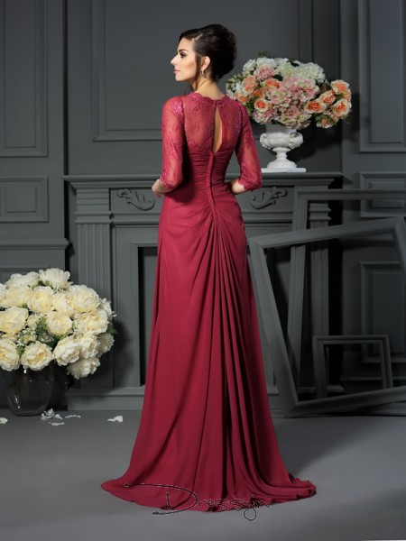 A-Line/Princess Scoop 1/2 Sleeves Chiffon Applique Long Mother of the Bride Dresses