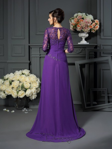 A-Line/Princess Sweetheart 1/2 Sleeves Chiffon Applique Long Mother of the Bride Dresses