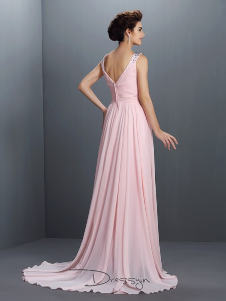 A-Line/Princess Straps Sleeveless Chiffon Beading Long Dress