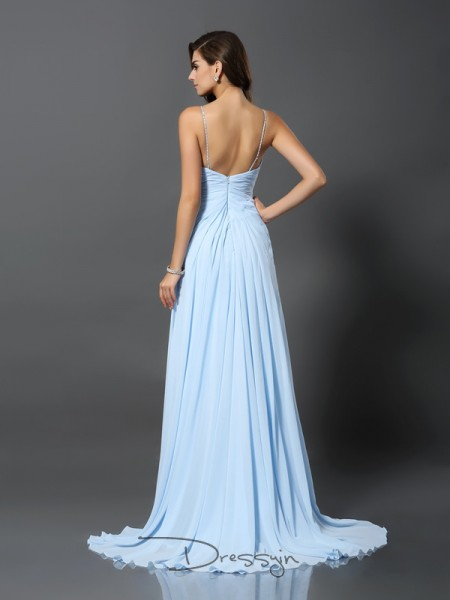 A-Line/Princess Spaghetti Straps Sleeveless Beading Chiffon Long Dresses