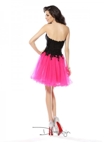 A-Line/Princess Sweetheart Sleeveless Net Short/Mini Dresses