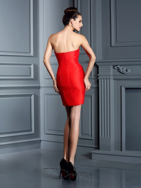 Sheath/Column Sweetheart Sleeveless Embroidery Taffeta Short/Mini Dresses