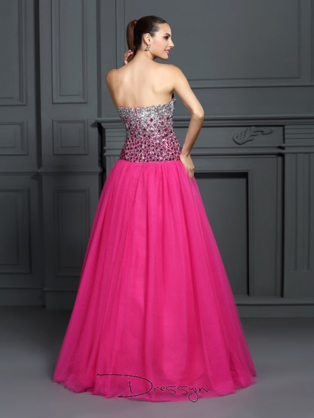 Ball Gown Sweetheart Sleeveless Organza Long Dresses