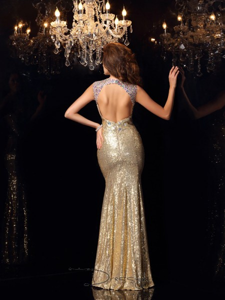 Trumpet/Mermaid High Neck Sleeveless Sequins Long Dresses