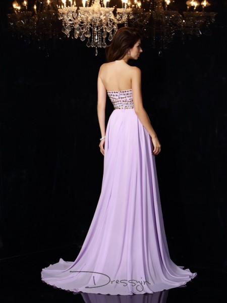 A-Line/Princess Sweetheart Sleeveless Beading Chiffon Long Dresses