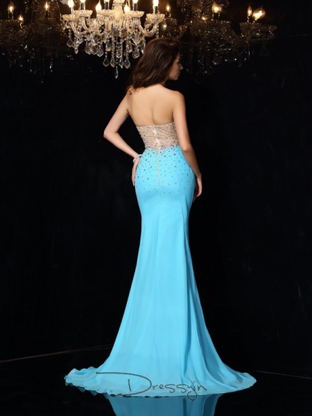 Sheath/Column Sweetheart Sleeveless Beading Chiffon Court Train Dresses