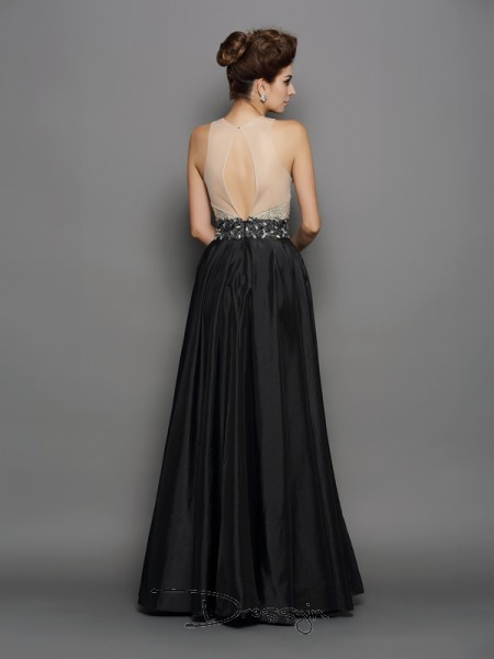 A-Line/Princess High Neck Sleeveless Sequin Taffeta Long Dresses