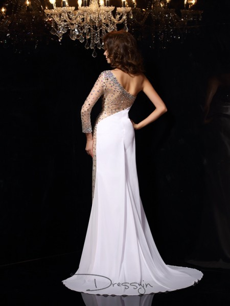 Sheath/Column One-Shoulder Long Sleeves Beading Chiffon Long Dresses