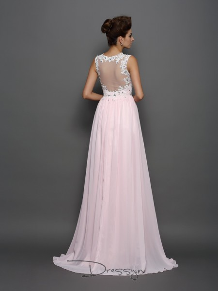 A-Line/Princess Straps Sleeveless Beading,Applique Chiffon Long Dresses