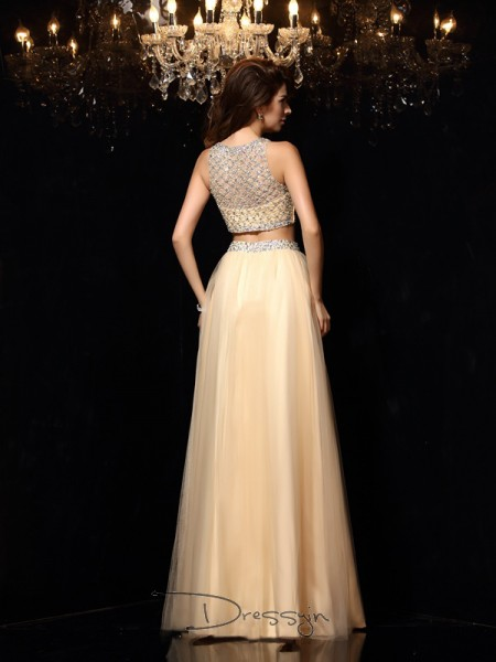 A-Line/Princess High Neck Sleeveless Beading Net Long Dresses