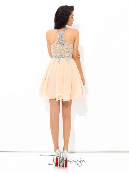 A-Line/Princess Chiffon Sleeveless Straps Rhinestone Short Dresses