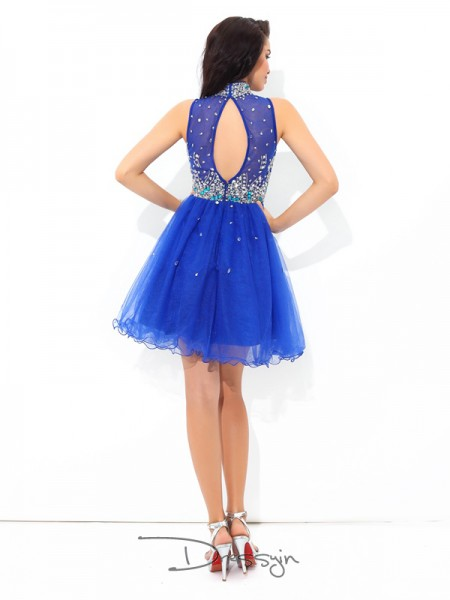 A-Line/Princess Net Sleeveless High Neck Beading Short Dresses