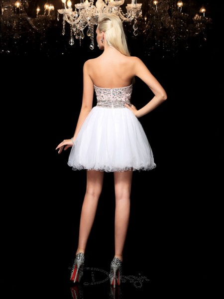 A-Line/Princess Net Sleeveless Sweetheart Beading Short Dresses