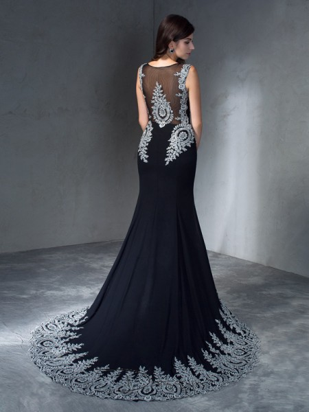 Trumpet/Mermaid Chiffon Sleeveless Scoop Applique Long dresses